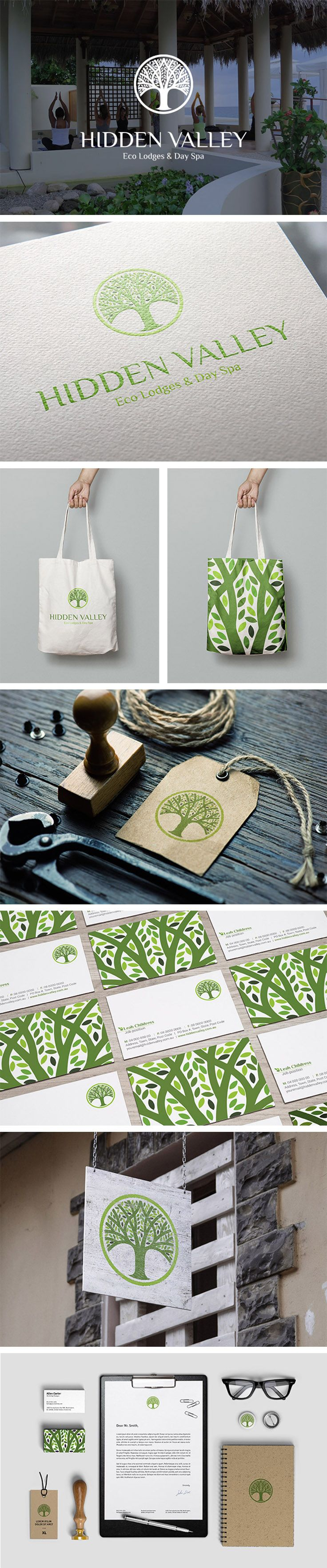 Logo Design Spa Brand Identity Tree Eco Retreat  |  modern, green, zen, circle, yoga, leaf  |  Hidden Valley Eco Lodge, Kalamunda  |  Valhalla Creative Design, Perth