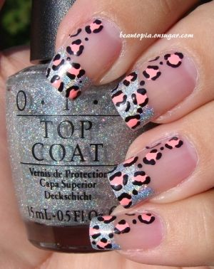 Nail art design - silver glitter tips with leopard print in peach...x
