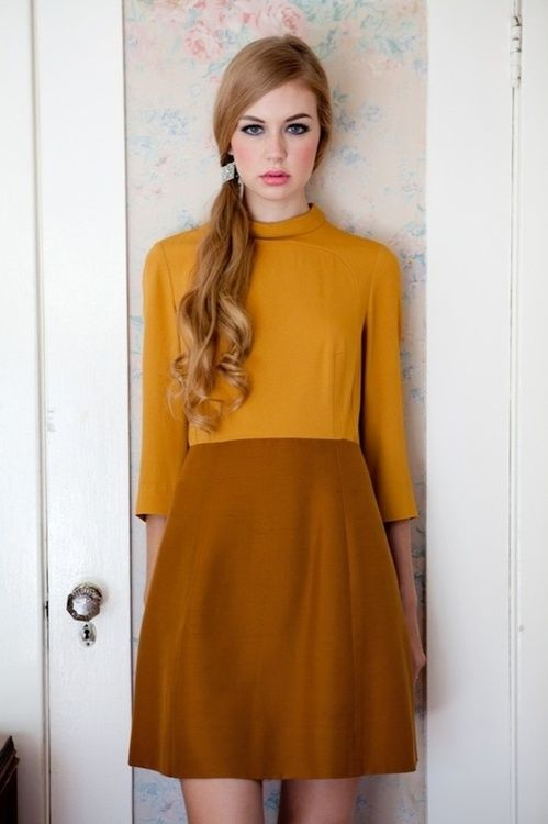 Mustard and brown colour block dress x