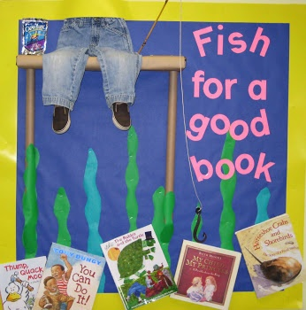 """Library corner bulletin board - Fish for a good  book, or maybe """"THE GOOD BOOK."""" or fishing for stories from God's Word"""