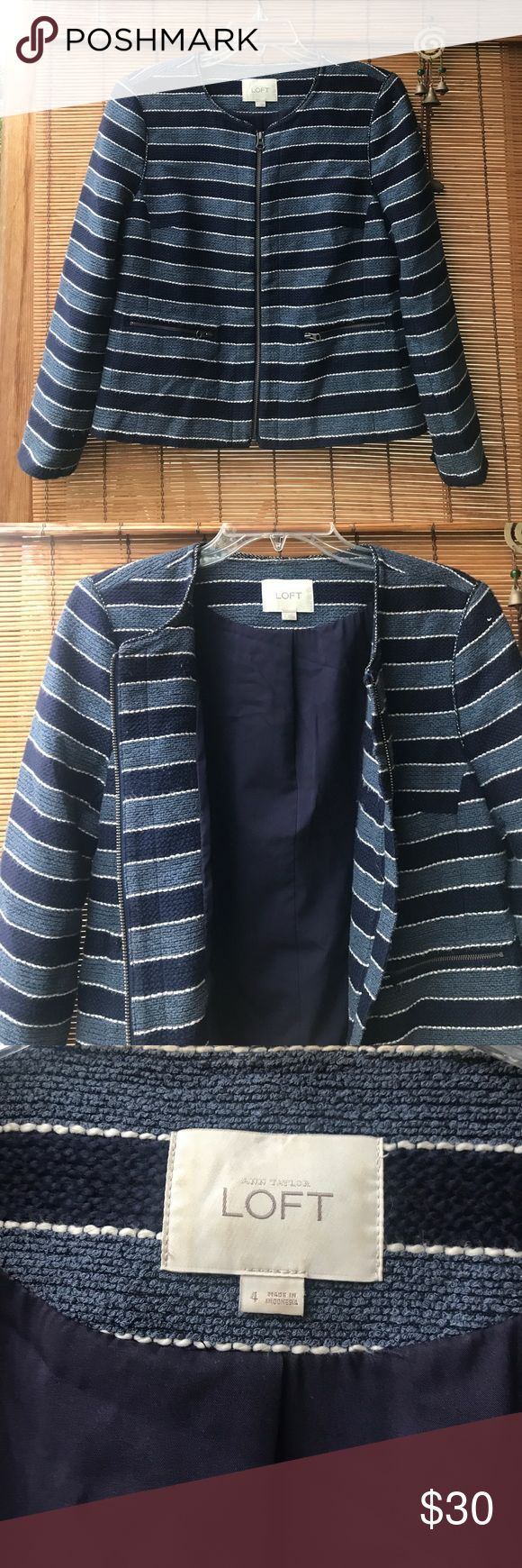 Ann Taylor LOFT striped blazer professional work Super chic blazer from Anne Taylor Loft. Some slight piling from washing, but still in great condition. LOFT Jackets & Coats Blazers