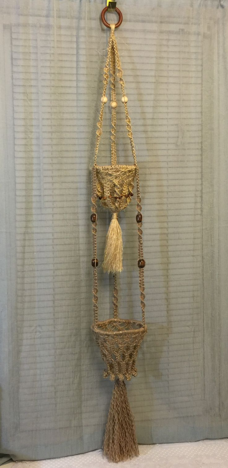 MACRAME PLANT HANGER double, natural, jute, sisal                                                                                                                                                     More