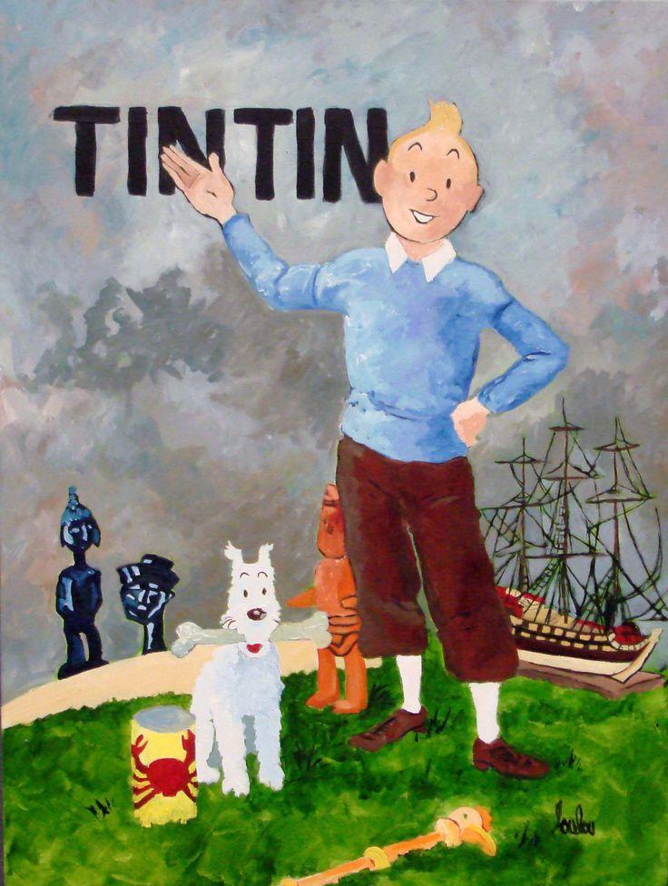 Tintin - Tribute to Herge 2008,  Mary Louise Delarosbel, acrylic