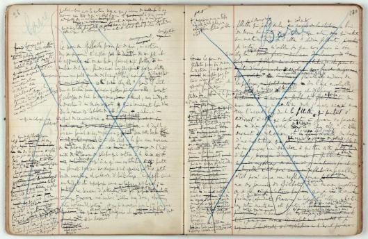 """Uno de los cuadernos preparatorios de Marcel Proust para su """"À la Recherche du temps perdu"""". En el ensayo de Liliana Ramos-Collado """"Estereoscopías: Los personajes de Marcel Proust""""."""