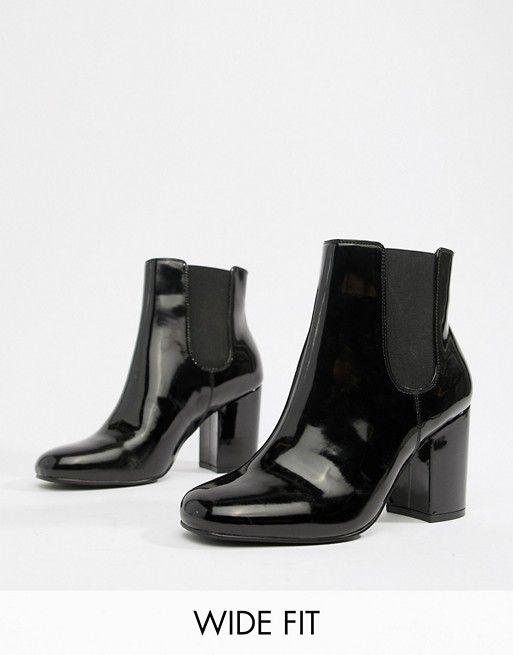 c333a617e98 DESIGN Wide Fit Bravo Patent Chelsea Ankle Boots