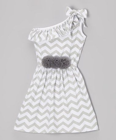 Another great find on #zulily! Gray & White Zigzag Asymmetrical Dress - Toddler & Girls #zulilyfinds
