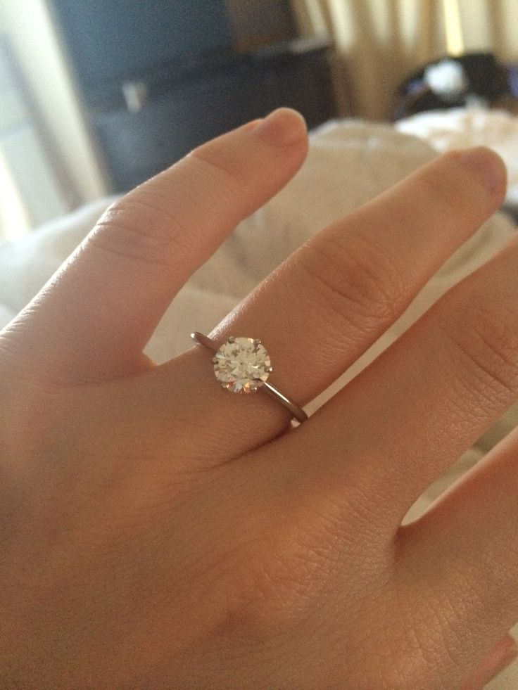 1 Carat Round Diamond Ring On Finger
