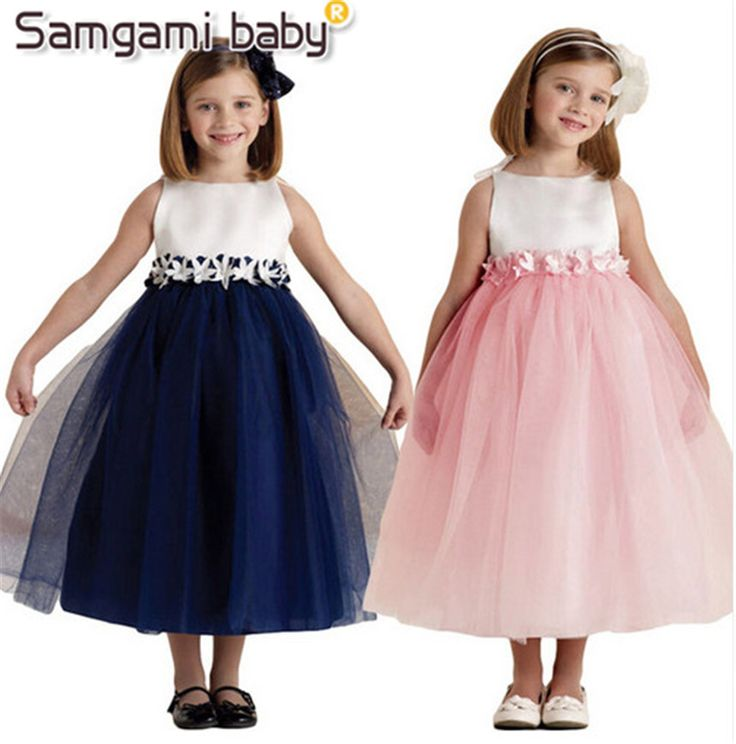 SAMGAMI BABY The New Summer Girls'  Chiffon Vest Dress With Unique Lace belt,Ankle And Toe Dress Lovely Pink And Deep Blue #Affiliate