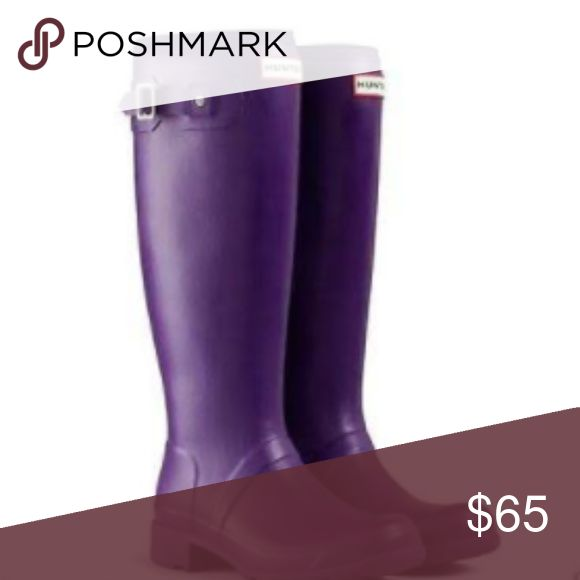 Hunter Original Rain boots HUNTER ORIGINAL TALL TOUR SOVEREIGN PURPLE WELLINGTON BOOTS Welly PACKABLE FOLD in size 9. These have been worn and a few minors tears- pictures show condition so there are no surprises when you order. But minus the wear and tear rips these boots look brand new.. Paid $150... Hunter Shoes Winter & Rain Boots
