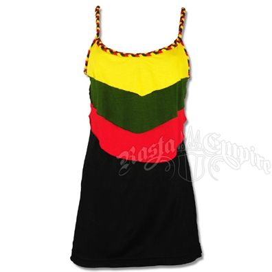 This black tank top features rasta braided straps and neckline. You will also find layers of the rasta colors down the front of the shirt.  The green is an olive green color.Hand Wash. Do not dry. Made of 100% viscose (rayon).