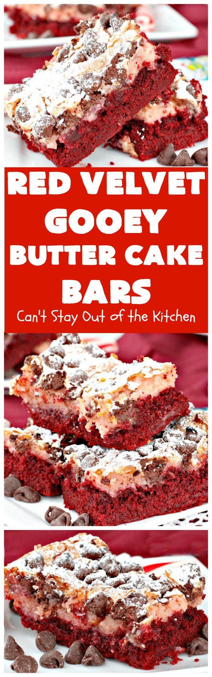 Red Velvet Gooey Butter Cake Bars use a red velvet cake mix & chocolate chips in the batter. Excellent for Valentine's Day or Christmas parties.