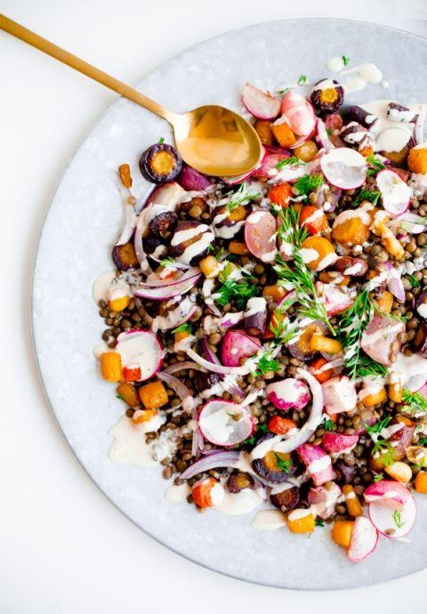 Roasted Carrot Lentil Salad + Radishes + Tahini Dressing :: Blogging Over Thyme