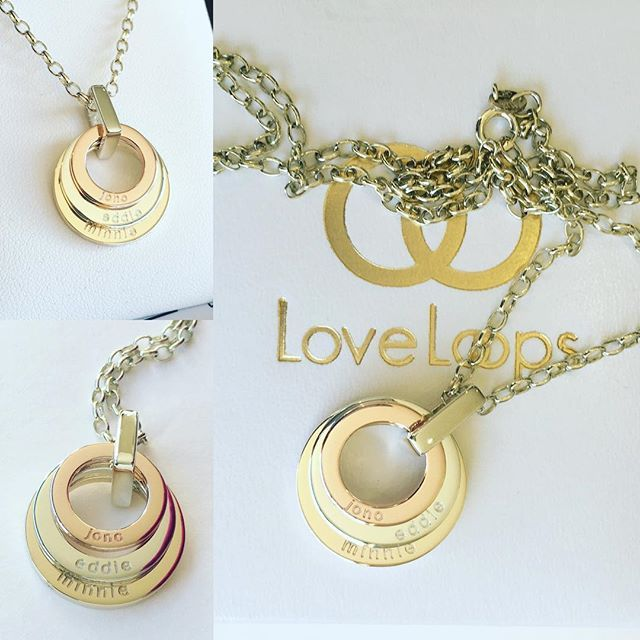 This is not one of our most loved looks but it should be, I LOVE this! Little, mini and petite #loveloops in mixed #yellowgold #rosegold and #whitegold with white gold link and chain. Lovely simple #engraving.  Our jewellery is all solid quality metal, no plating here!!