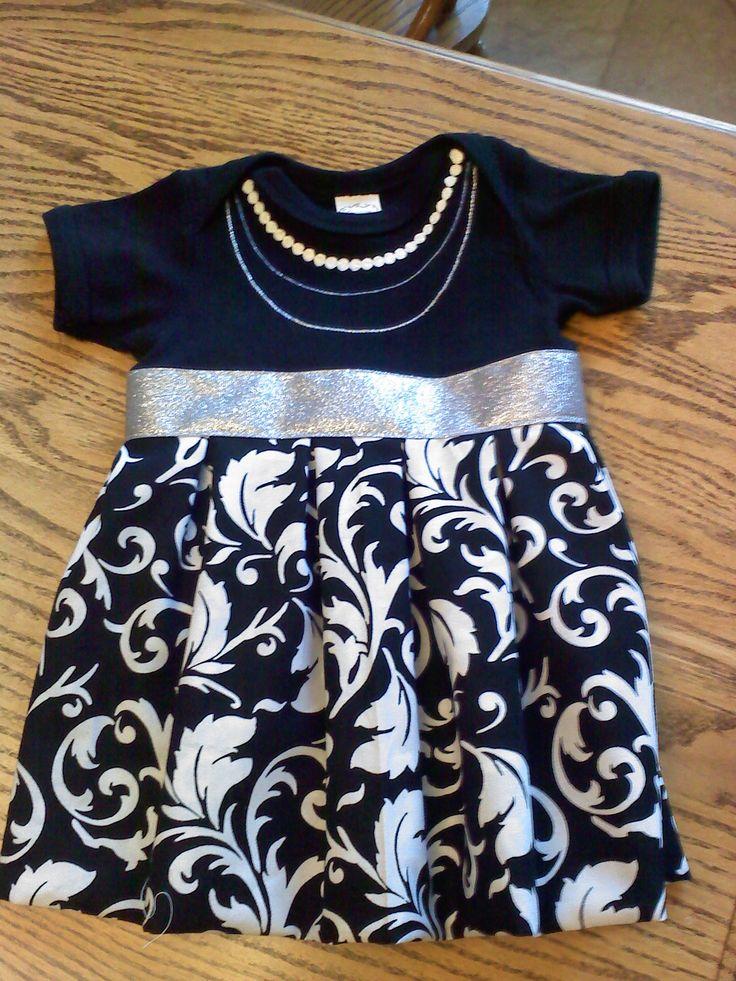 Onesie Dress 1227111656a http://thethriftycraftjunkie.wordpress.com/2012/06/25/diy-baby-girl-onesie-dress/