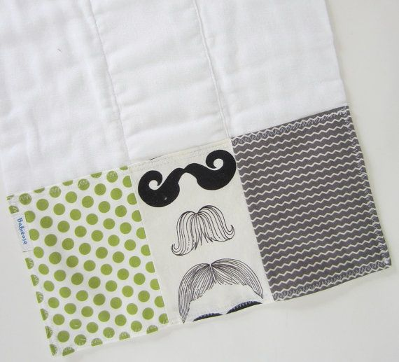 Baby Burp Cloth  Mustache Baby