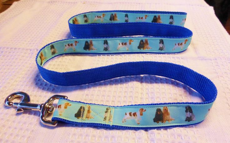 Cocker spaniel custom print ribbon lead on blue webbing $25