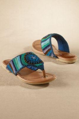 Shannon Sandals - Crochet Sandal, Woven Thong Sandal, Stylish Beach Sandal | Soft Surroundings
