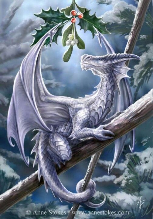 """Yule dragon """"Give me a kiss""""  PS. not sure where this pin came from, does any one know the artist?"""