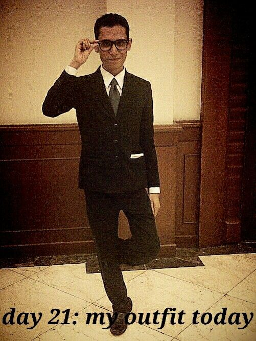 Everyday wearing black and white suit.