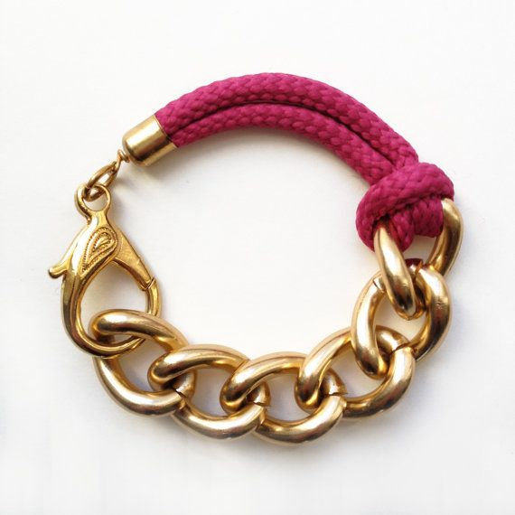 Items similar to Bon Voyage Rope Bracelet, Raspberry Rope Bracelet With Chunky Golden Chain on Etsy