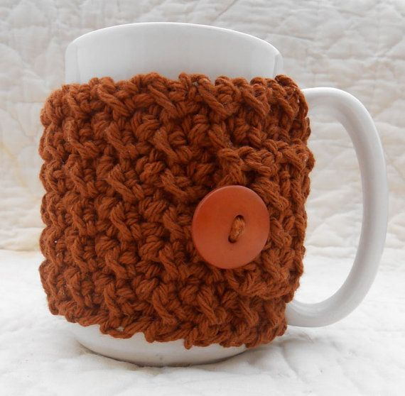 Brown Crocheted Coffee Cozy