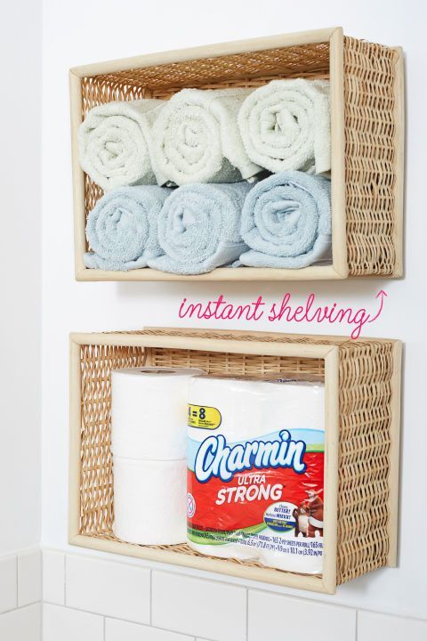 If you have five minutes, you can finish this DIY project that transforms a wicker into a stylish shelf. Even better: Add another so you can separate your body and hand towels. Click through for more on this and other DIY dollar store bathroom organization ideas.