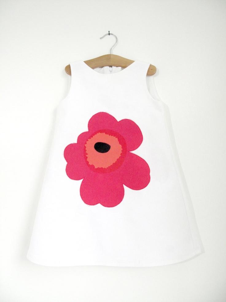 Organic Lucia Dress with a Red Marimekko Unikko Poppy applique, Age 3-4. £40.00, via Etsy.