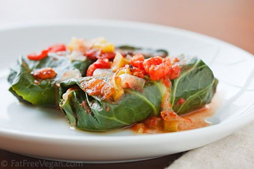 Collards stuffed with beans and rice