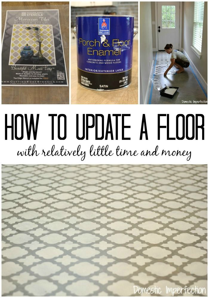 Stenciling gives a plain floor a updated look for a fraction the cost of tile or hardwood!