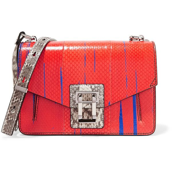 Proenza Schouler Hava paneled printed ayers and elaphe shoulder bag ($998) ❤ liked on Polyvore featuring bags, handbags, shoulder bags, tomato red, shoulder hand bags, red shoulder handbags, proenza schouler handbags, proenza schouler purse and red purse