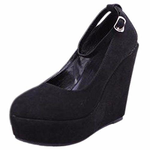 QIYUN.Z Frauen Hohe Keilabsatz Gürtel Wasserdichte Plattform Rund Zehepumpe Schuhe Schnalle - http://on-line-kaufen.de/qiyun-z/qiyun-z-frauen-hohe-keilabsatz-guertel-plattform