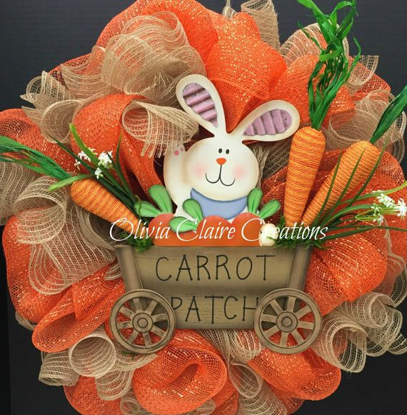 Spring or Easter Curly Deco Mesh Entry Door Wreath with Orange and Burlap Mesh and Cute Bunny in Cart Surrounded by Carrots