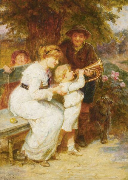 Learning to Play the Trumpet by Frederick Morgan | Art Posters & Prints