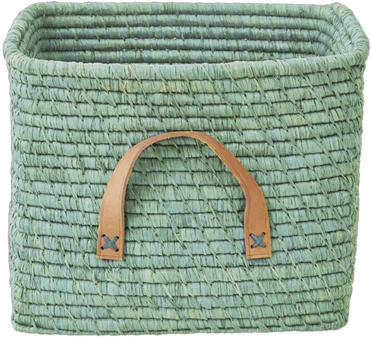 Köp rice Förvaringskorg m Läderhandtag Grön | Barnrummet Förvaring | Jollyroom