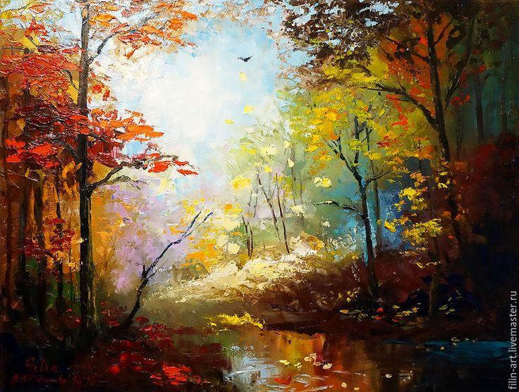 """Купить Пейзаж Осень Картина маслом на холсте - """"Бабье лето"""" - желтый, красный, коричневый, бирюзовый, осень, осенний пейзаж, осенние краски, Осенние цвета, пейзаж маслом, картина маслом на холсте, картина маслом пейзаж, авторская живопись, картина в подарок, картина для интерьера, филатова, филин-арт, картина маслом от автора, яркая картина в интерьер, современная живопись, осенний пейзаж картина"""