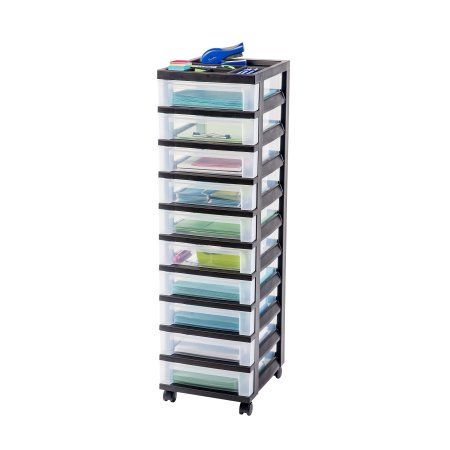 Gallery For Photographers IRIS Drawer Cart with Organizer Top Black Drawers Measure