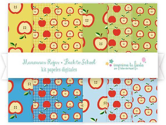 Papeles Digitales Kit Back to School Manzanas por ImprimeTuFiesta. #digitalpaper