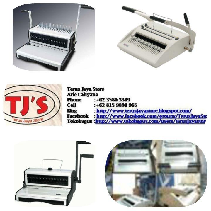 Binding Machine / Mesin Jilid ;   + Gemet 302 D  adalah mesin jilid (binding machine dengan 2 (dua) Fungsi (Kawat & Plastik). Tepat guna dan ber-kualitas serta durabilitas.  + Gemet 21 H  + Gemet 31 WF  + Gemet 24 H + Gemet 31 WA  + OffistarCp 1 + Offisar Pm 24  + Offistar W band  Call :  Hormat kami,  Terus Jaya Store Arie Cahyana SE Hp: 0815 9898 965  Ph: 021 3580 3389  Email : arie_cahyanas@ymail.com   Web      : http://www.google.com/+TerusJayaStoreArieCahyana/