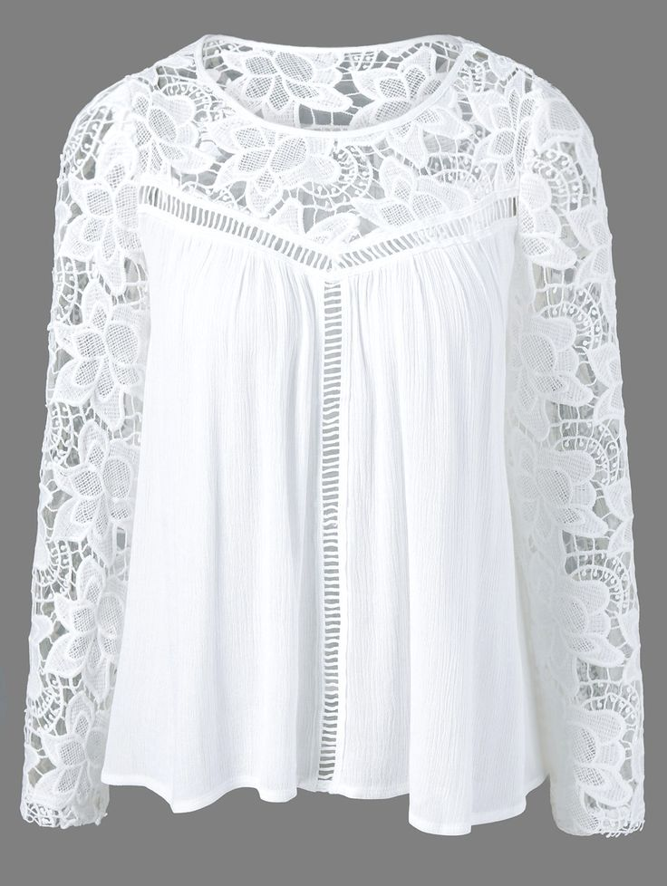 $14.76 Long Sleeves Lace Splicing Blouse