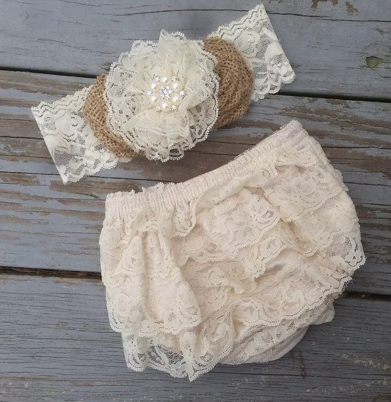 Rustic Shabby Chic Lace Diaper Cover-Rustic by CountryCoutureCo