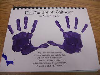 """Handprint calendar. Such a cute idea!!! Each month has a different """"handprint art"""" pertaining to the month."""