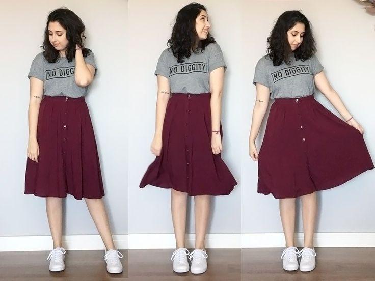 saia midi, tshirt, camiseta, tenis branco, estilo, look do dia, moda, blogger, inspiração saia midi, ideias de look