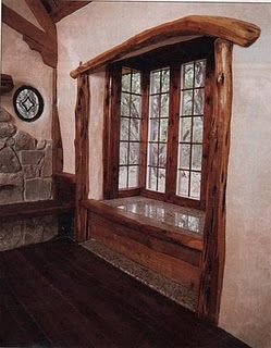 Great wood accent instead of molding to keep with the natural design of cob
