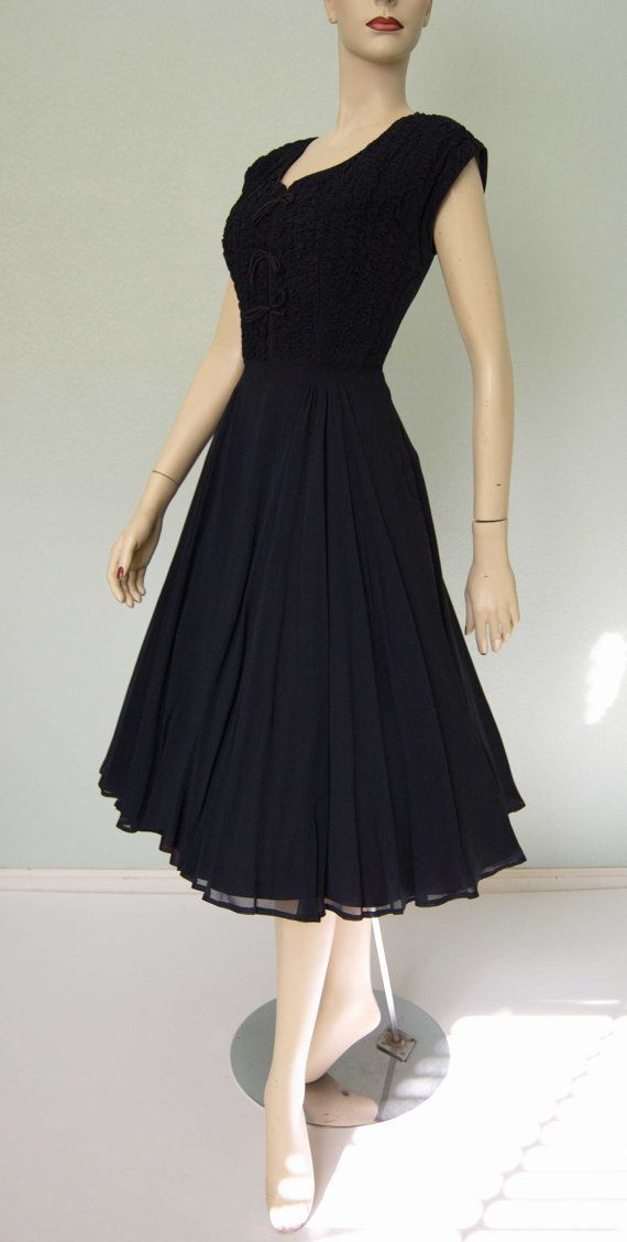 1950s Navy Chiffon Dinner and Dancing Dress  by KittyGirlVintage