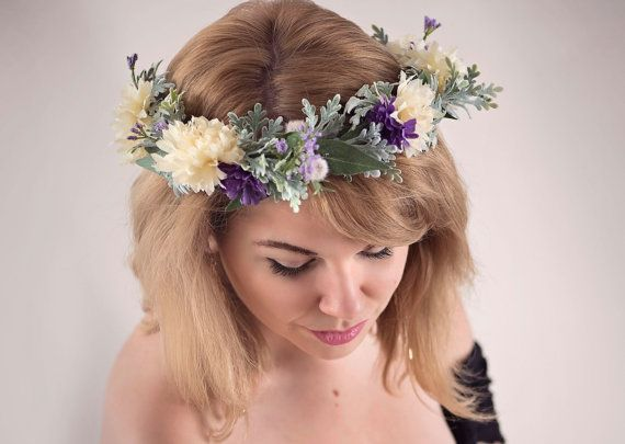 Lilac Flower Crown, Lilac Purple Ivory Floral Crown, Dusty Miller Flower Crown, Boho Wedding Crown, Wildflower Crown, Woodland Wedding Crown