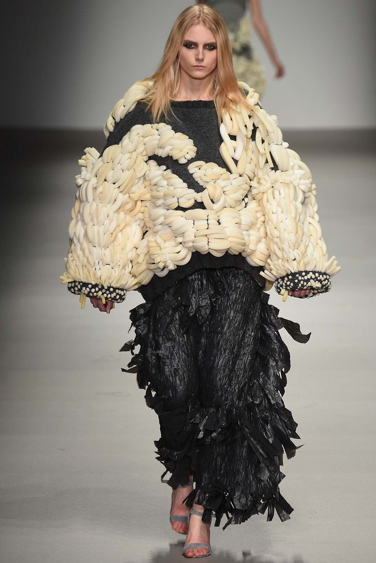 Sculptural Fashion - oversized sweater with chunky weave embroidery; wearable art // Hayley Grundmann Fall 2015