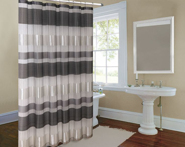 Metallic Striped Silver Fabric Shower Curtain