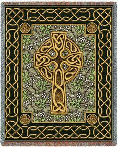 """""""Celtic Cross Tapestry Throw"""" Rich in Celtic tradition, this cross is depicted using traditional Celtic knots. Green shamrocks help set the tone for the background while the gilded cross creates the f"""