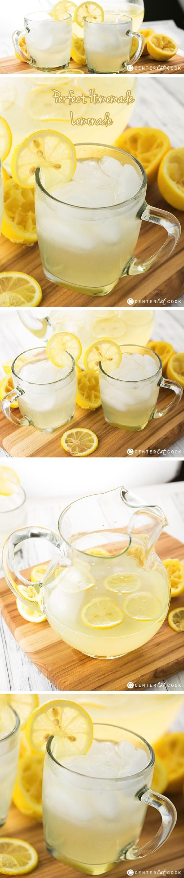 Homemade Lemonade Recipe made with fresh squeezed lemon juice! This is the taste of summer, right here! It is so frefreshing with just the right amounts of lemon juice, water, and sugar.