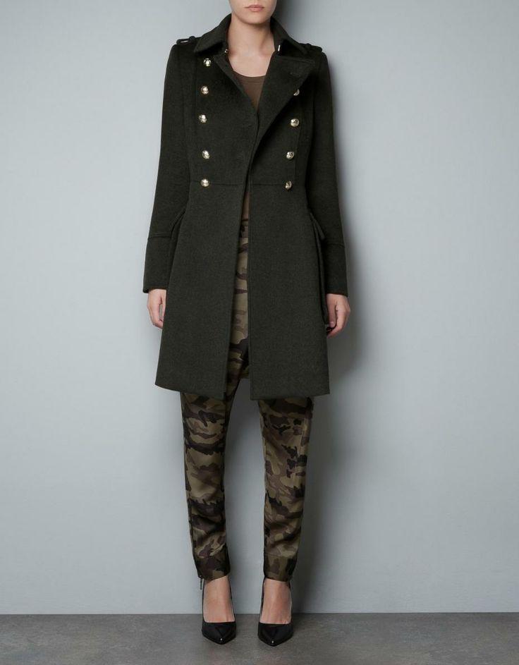 """-Un manteau en laine forme """"pea coat"""": manteau kaki militaire zara automne hiver 2012 2013 (129euros)"""